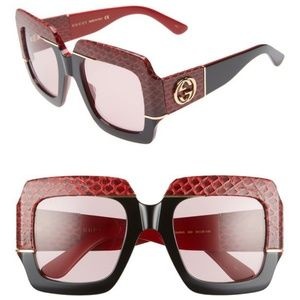 New GUCCI 54mm Genuine Snakeskin Square Sunglasses